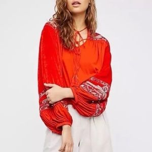 Free People Hearts Aflame Velvet Top